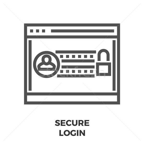 Bezpieczne login line ikona cienki wektora Zdjęcia stock © smoki