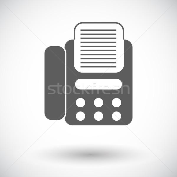 Fax icône blanche affaires bureau téléphone Photo stock © smoki