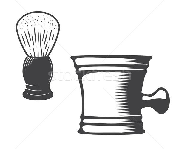 Shaving mug and brush Stock photo © smoki
