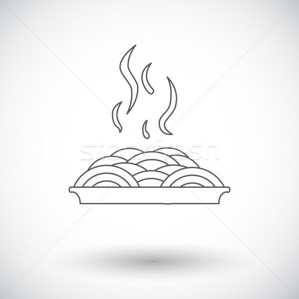 Spagetti ikon fehér művészet felirat tészta Stock fotó © smoki