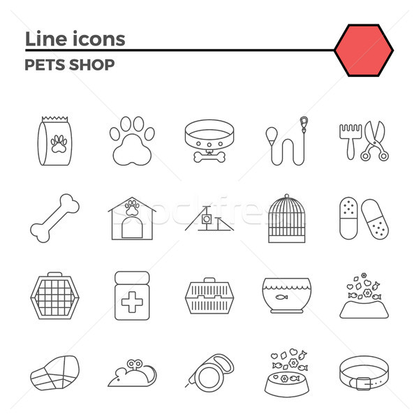 Pets shop icons Stock photo © smoki