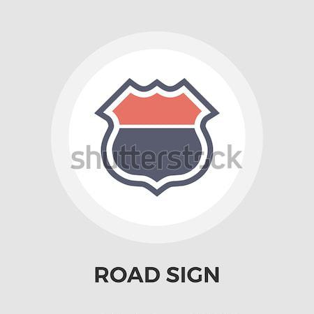 Senalización de la carretera icono vector aislado blanco Foto stock © smoki