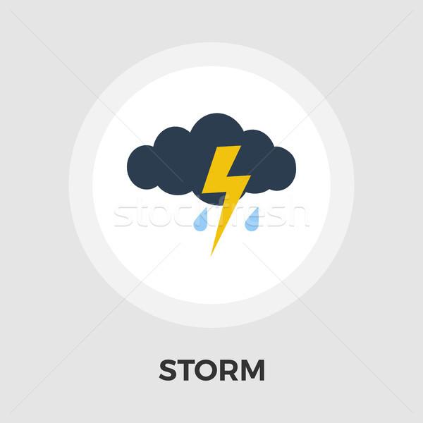 Fırtına vektör ikon yalıtılmış beyaz düzenlenebilir Stok fotoğraf © smoki