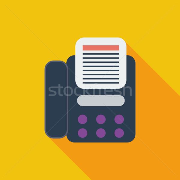 Fax icône vecteur longtemps ombre web Photo stock © smoki