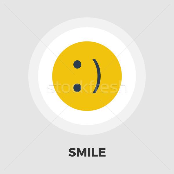 Glimlach icon vector geïsoleerd witte Stockfoto © smoki