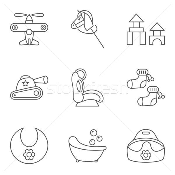 Baby thin line related vector icon set Stock photo © smoki