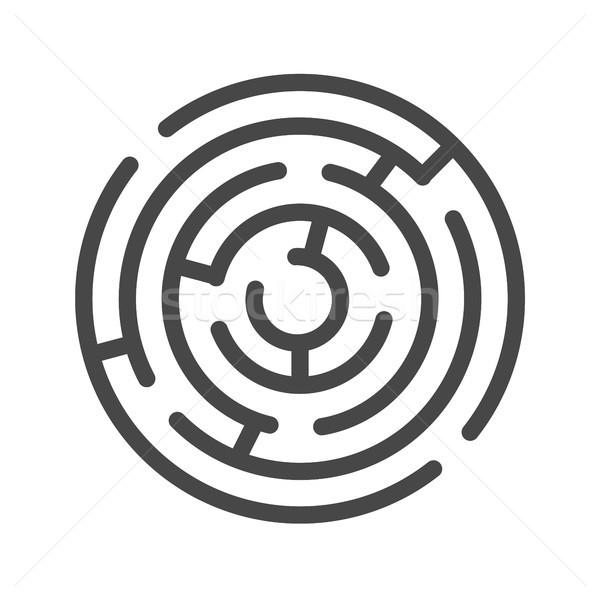 Labyrint dun lijn vector icon geïsoleerd Stockfoto © smoki