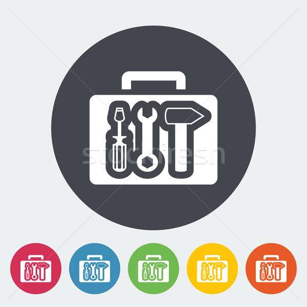 Szerszámosláda ikon kör munka felirat háló Stock fotó © smoki