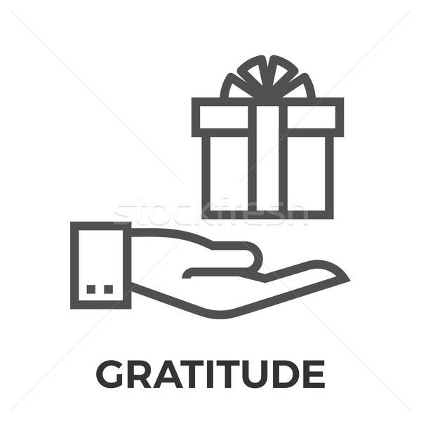 Dankbaarheid dun lijn vector icon geïsoleerd Stockfoto © smoki