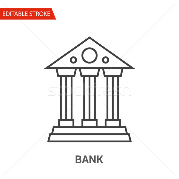 Bank Icon. Thin Line Vector Illustration Stock photo © smoki