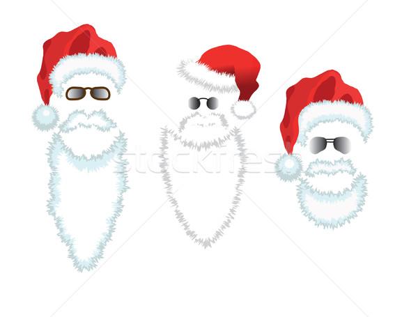Red Santa Claus Hat, beard and glasses. Stock photo © smoki