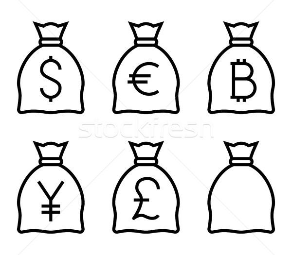 Zdjęcia stock: Torby · ceny · cienki · line · wektora · ikona