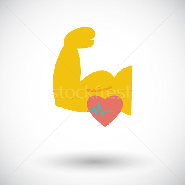 Icona bodybuilding bianco costruzione cuore fitness Foto d'archivio © smoki