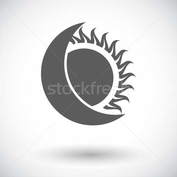 Nap fogyatkozás ikon fehér földgömb nap Stock fotó © smoki