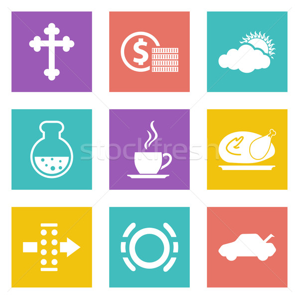 Color icons for Web Design set 31 Stock photo © smoki