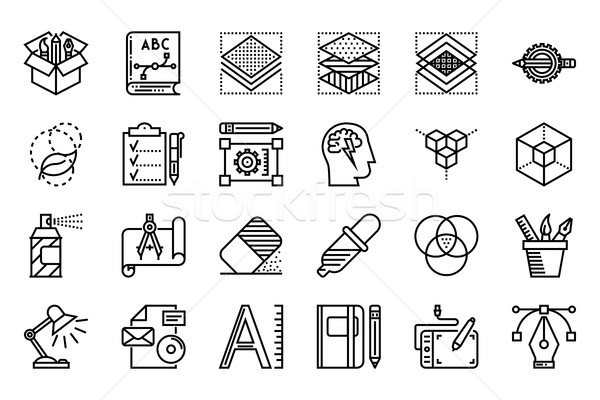 Grafik tasarım ince hat beyaz basit Stok fotoğraf © smoki