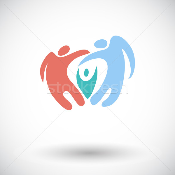 Stockfoto: Familie · icon · abstract · witte · hand · vrouwen