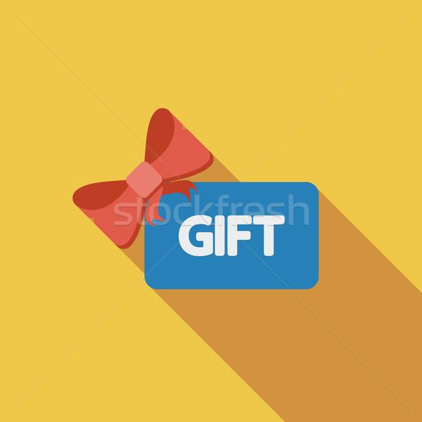 Gift card icon vector lang schaduw web Stockfoto © smoki