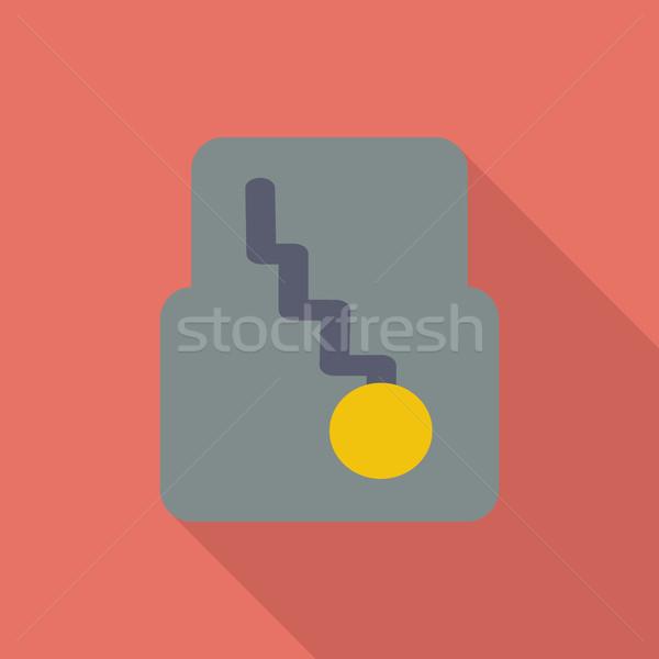 Icon automatisch versnelling vector lang schaduw Stockfoto © smoki