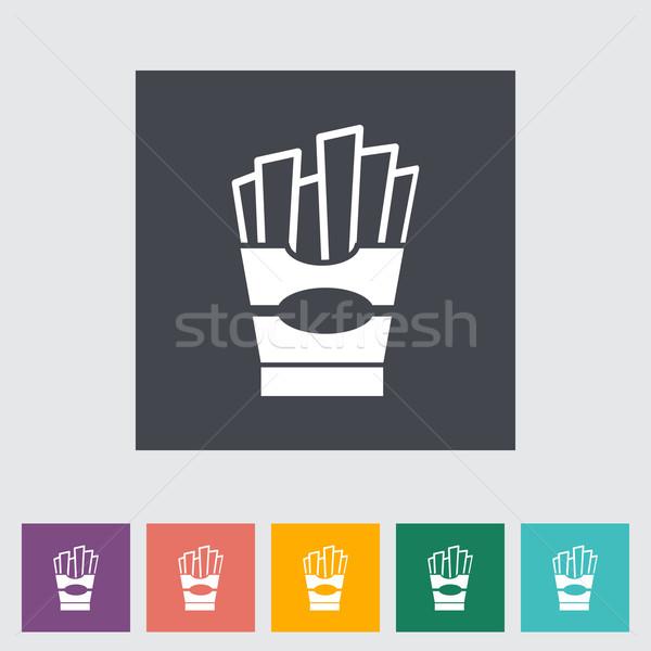 Frites françaises icône bouton alimentaire restaurant boîte Photo stock © smoki