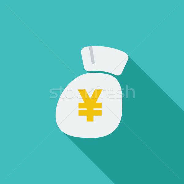 Yen ikon vektör uzun gölge web Stok fotoğraf © smoki
