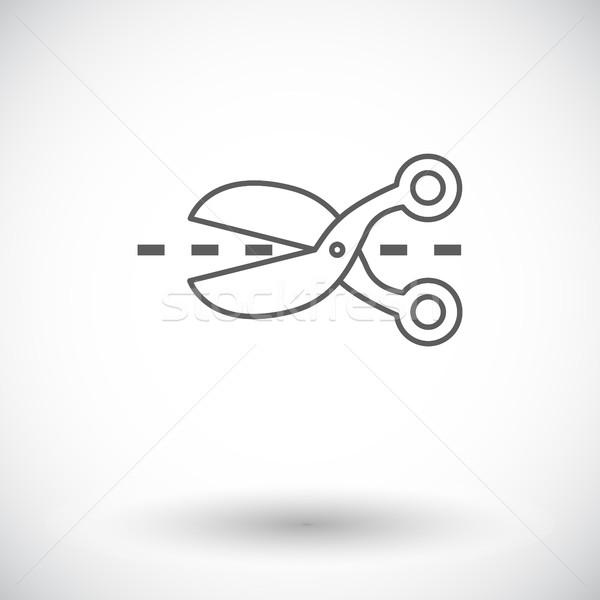 Olló ikon vékony vonal vektor háló Stock fotó © smoki