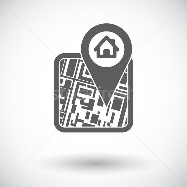 Gps mapa ícone branco rua bússola Foto stock © smoki