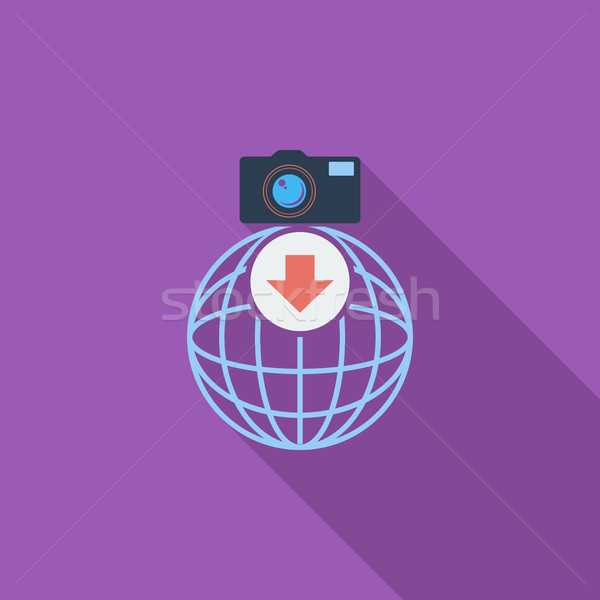 Foto downloaden icon downloaden icoon vector lang Stockfoto © smoki