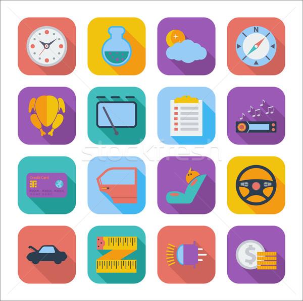 ícones web design cor móvel aplicações conjunto Foto stock © smoki