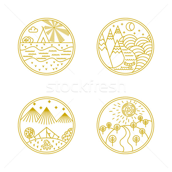 リニア バッジ ロゴ ベクトル ロゴデザイン 要素 ストックフォト © smoki