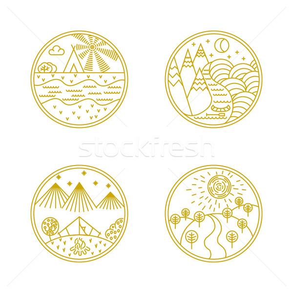 Linéaire badges logo vecteur conception de logo Photo stock © smoki