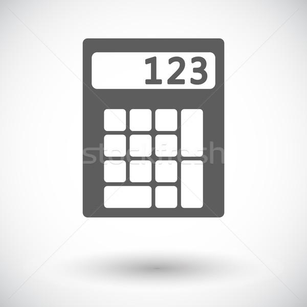 Kalkulator ikona biały projektu technologii klawiatury Zdjęcia stock © smoki
