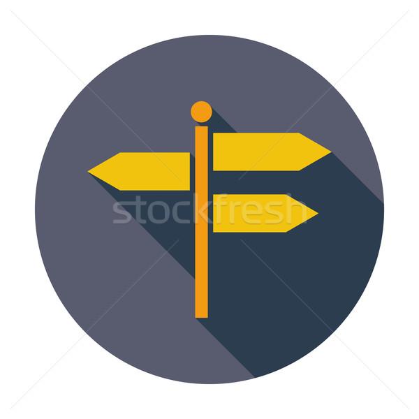 Poste de sinalização cor ícone arte assinar azul Foto stock © smoki