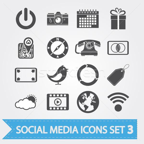 Zdjęcia stock: Social · media · wektora · ikona · projektu · aplikacja