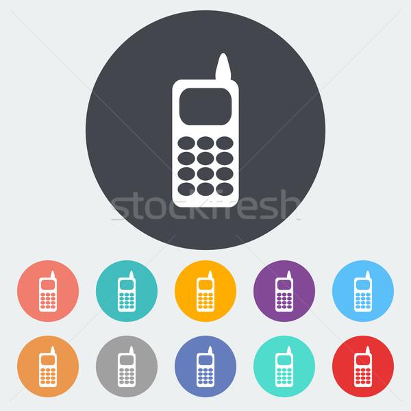 Phone single flat icon. Stock photo © smoki