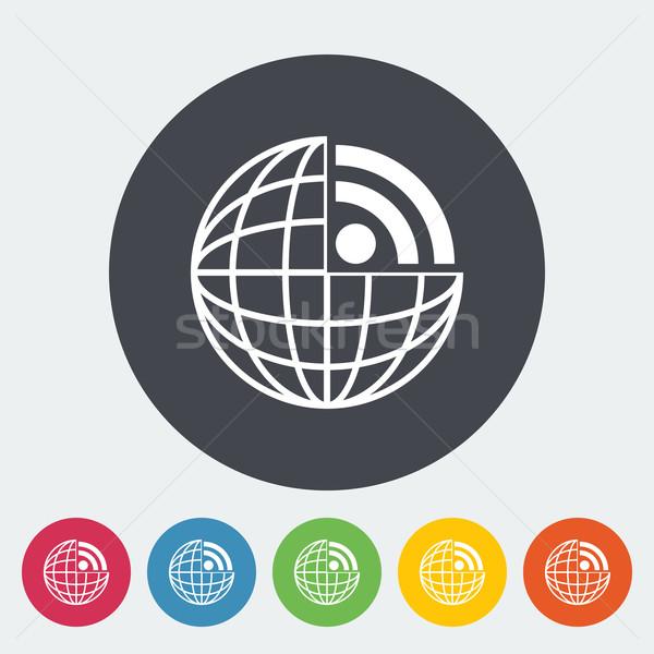Rss icon cirkel computer wereldbol aarde Stockfoto © smoki