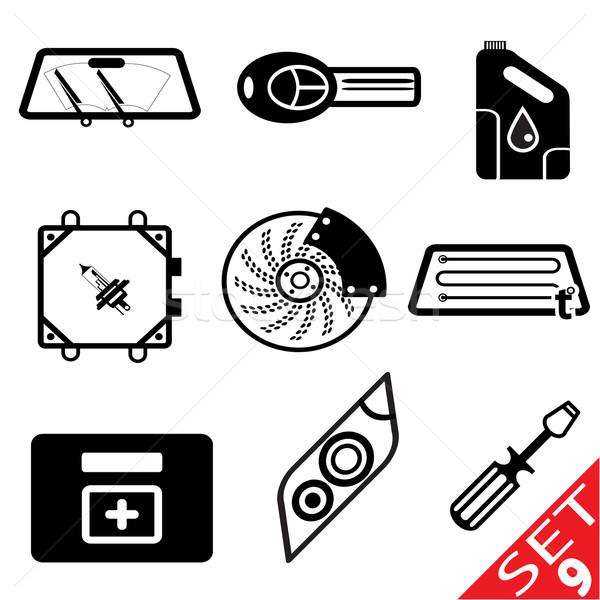 Stock fotó: Autó · ikon · gyűjtemény · fény · üveg · csoport · fekete