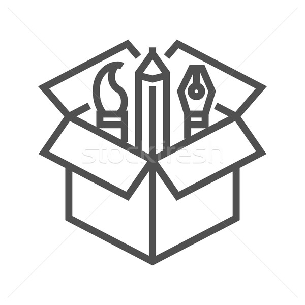 Creative пакет икона тонкий линия вектора Сток-фото © smoki