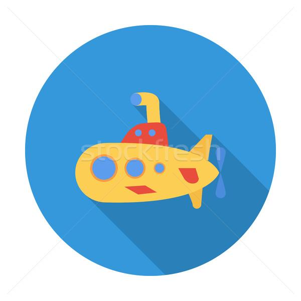Onderzeeër icon vector lang schaduw web Stockfoto © smoki