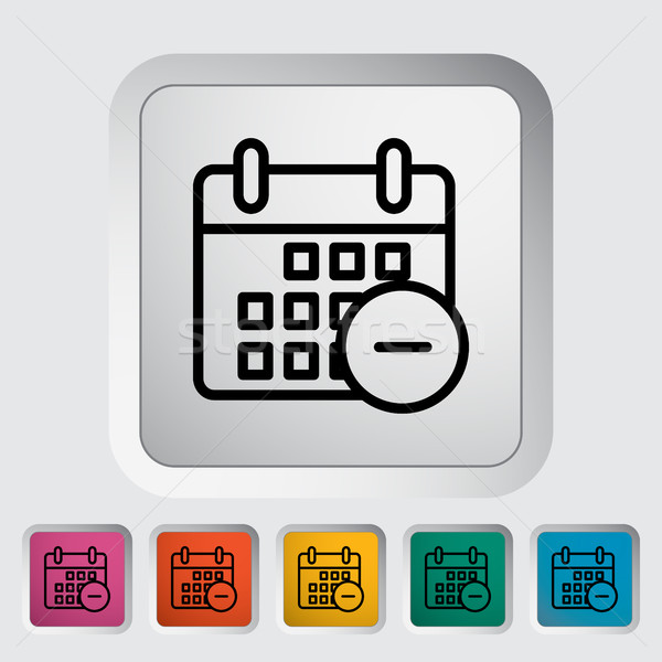 Takvim eksi ikon düğme sevmek kalp Stok fotoğraf © smoki