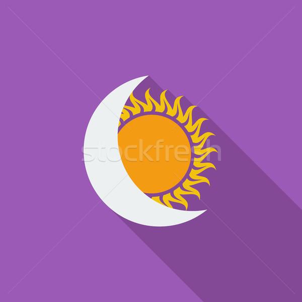 солнечной затмение икона вектора долго тень Сток-фото © smoki