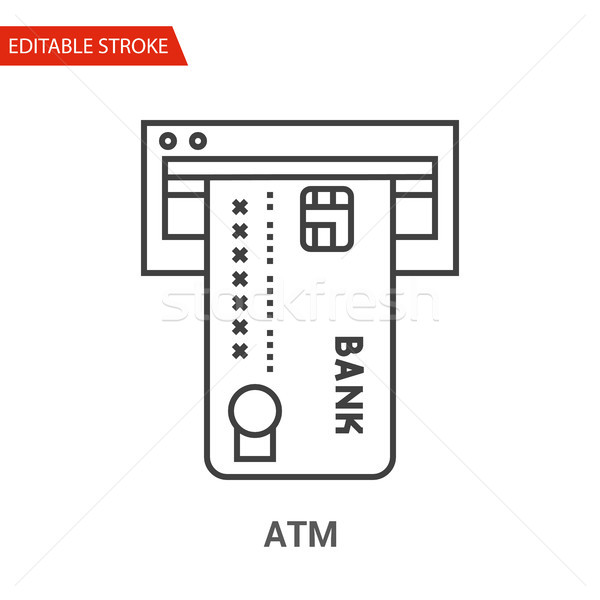 ATM Icon. Thin Line Vector Illustration Stock photo © smoki