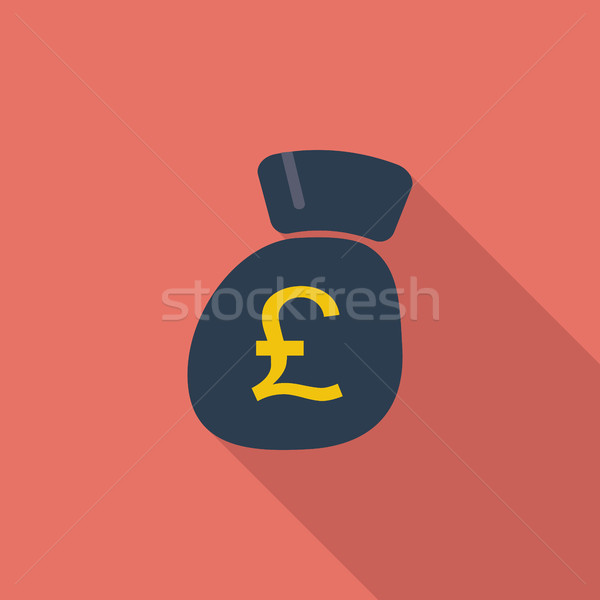 Pound ikon vektör uzun gölge web Stok fotoğraf © smoki