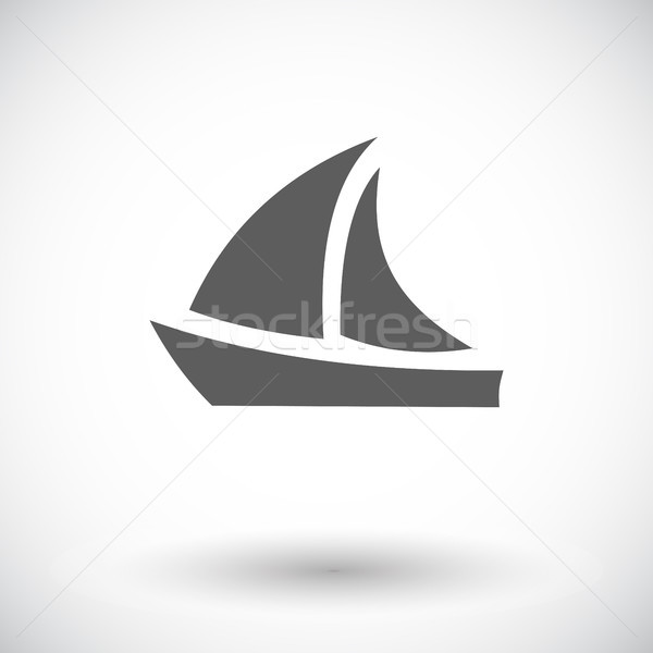 Jacht icon witte teken boot schip Stockfoto © smoki