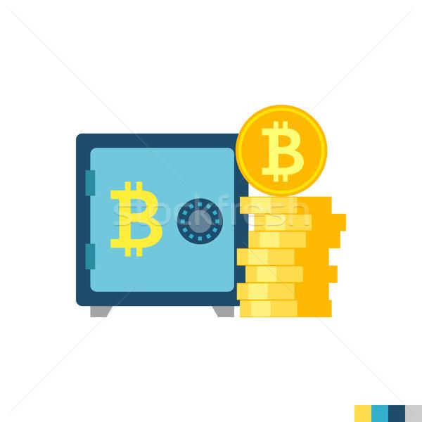 Bitcoin stoccaggio vettore icona isolato bianco Foto d'archivio © smoki