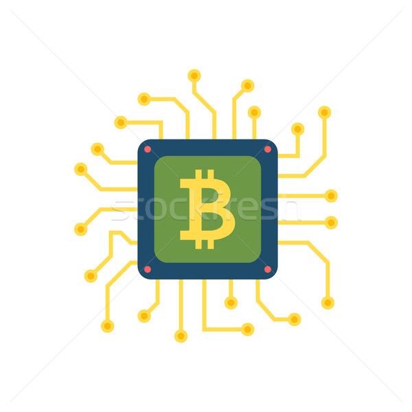 Cpu mijnbouw vector icon bitcoin microchip Stockfoto © smoki