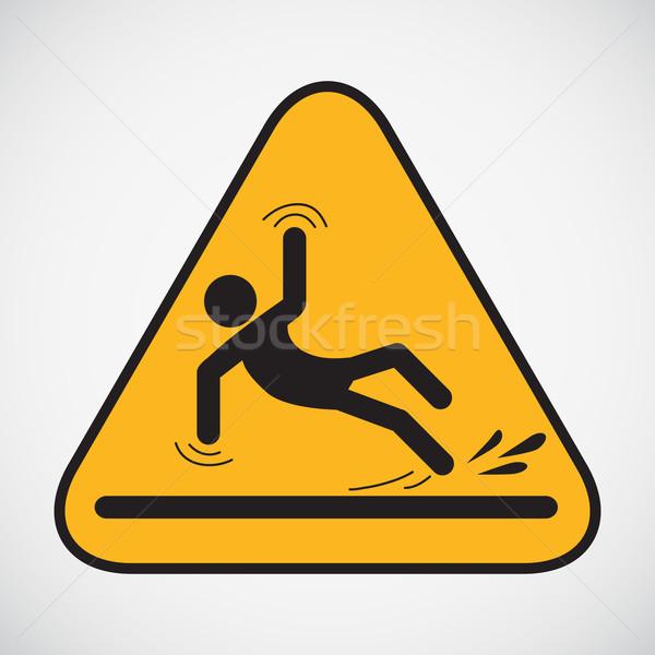 Mokro piętrze ostrożność podpisania czarny czyszczenia Zdjęcia stock © smoki