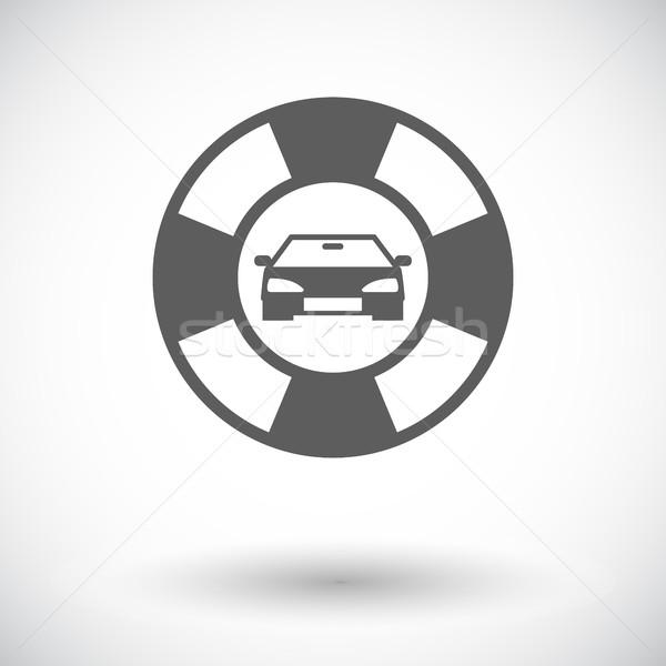 Beira da estrada símbolo ícone branco carro assinar Foto stock © smoki