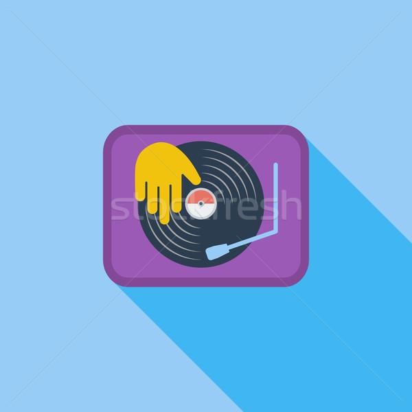 Gramofonu ikona wektora długo cień internetowych Zdjęcia stock © smoki