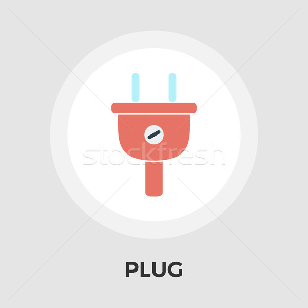 Electrical plug flat icon Stock photo © smoki